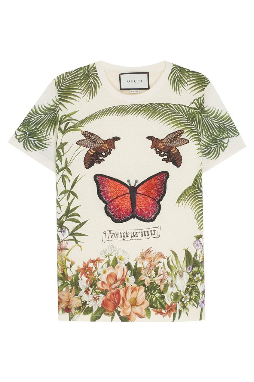 Gucci Хлопковая футболка с принтом и вышивкой