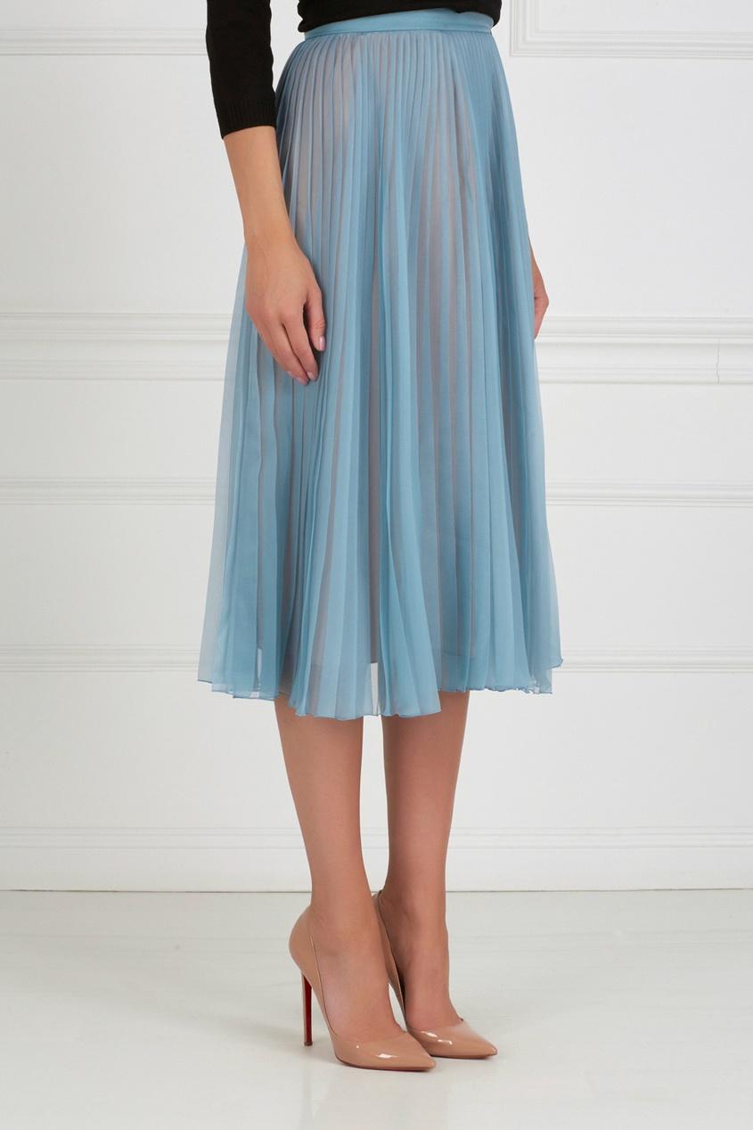 Фото 3 - Шелковая юбка от Gucci голубого цвета