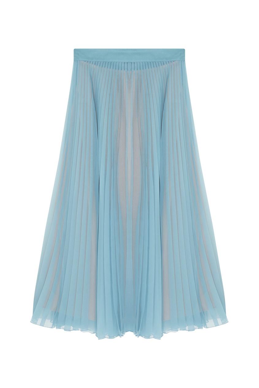 Фото 5 - Шелковая юбка от Gucci голубого цвета
