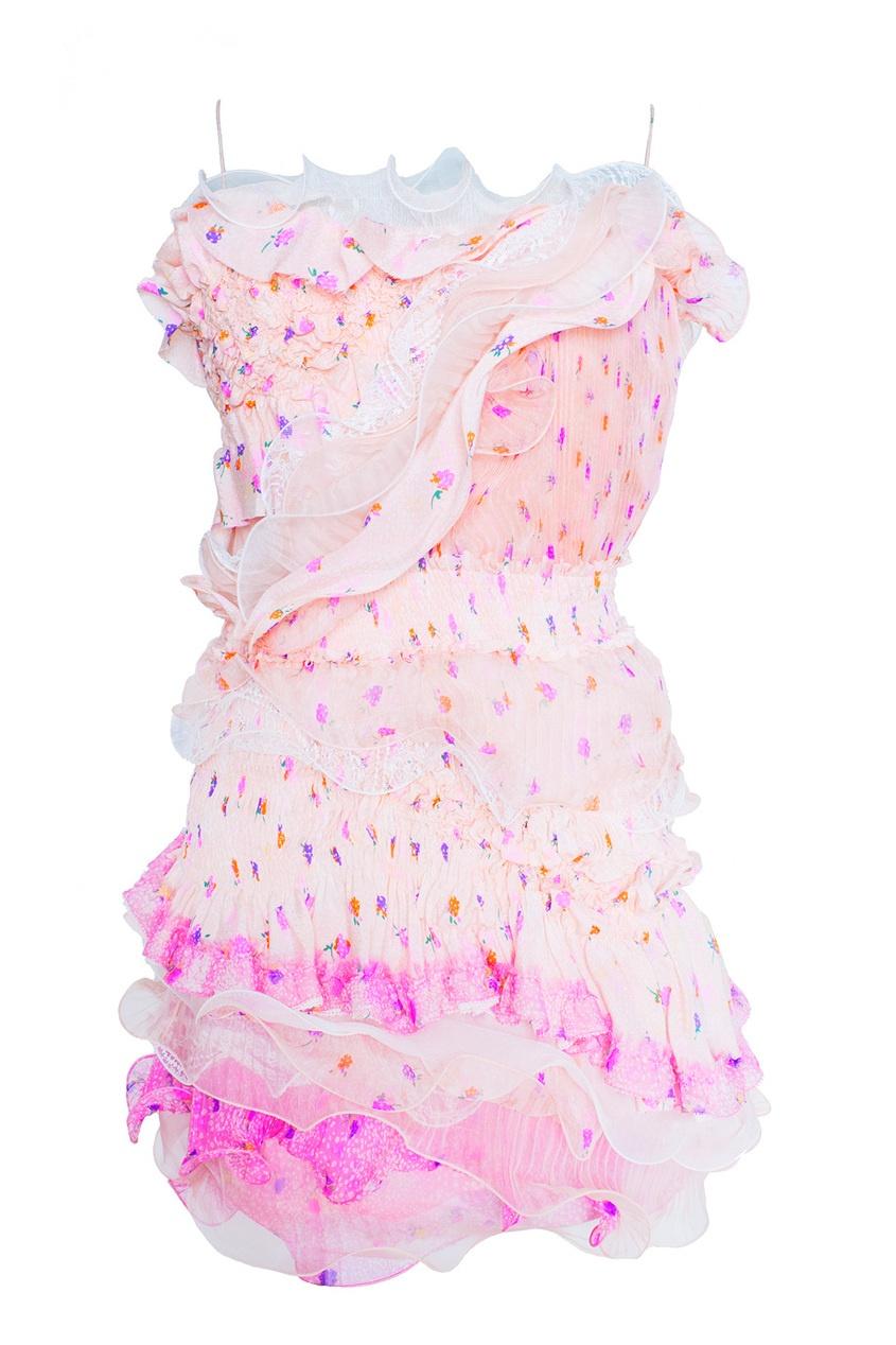 Платье-мини с оборками
