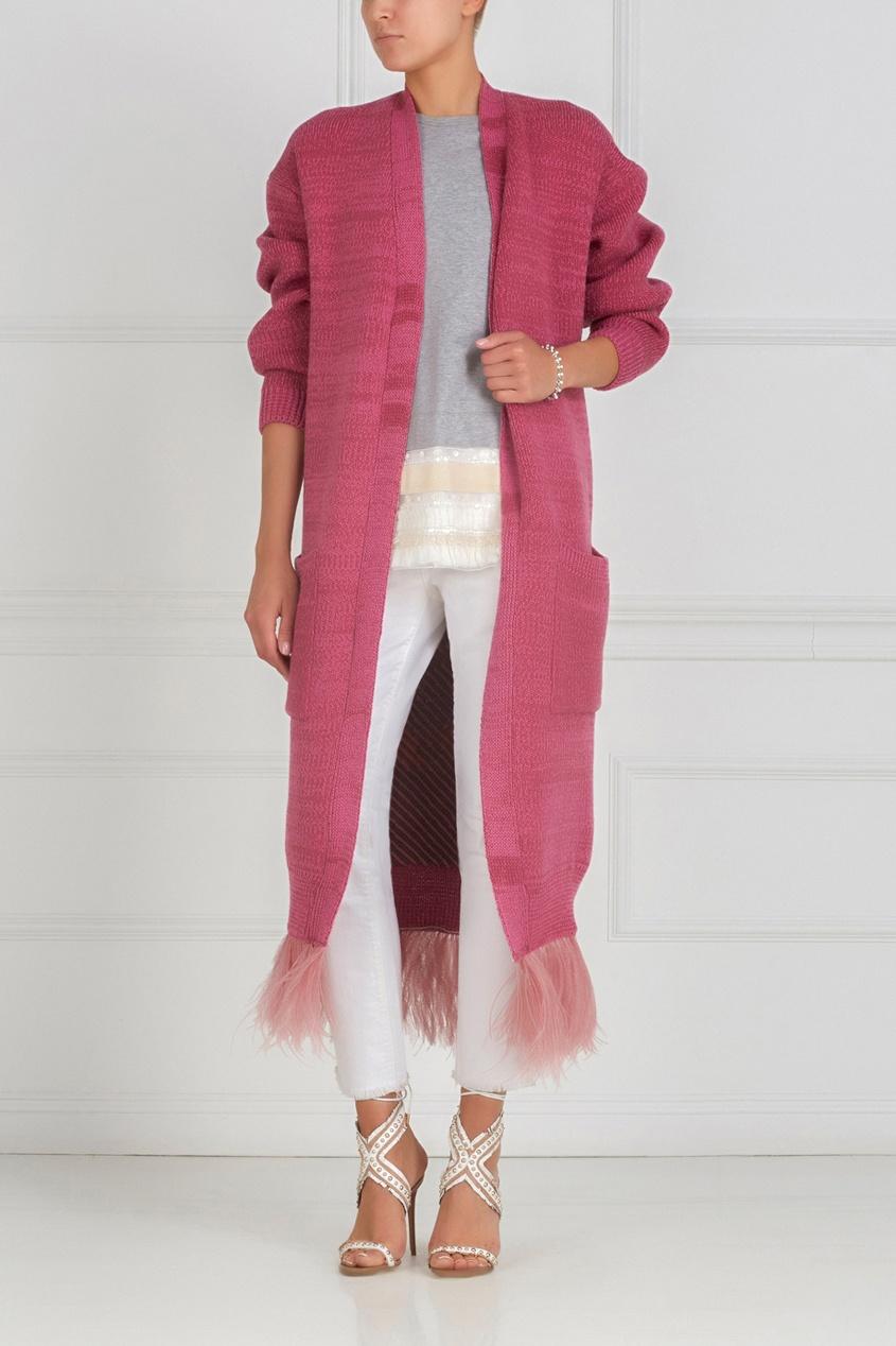 Фото 3 - Кардиган из шерсти и ангоры от Maison Kaleidoscope розового цвета