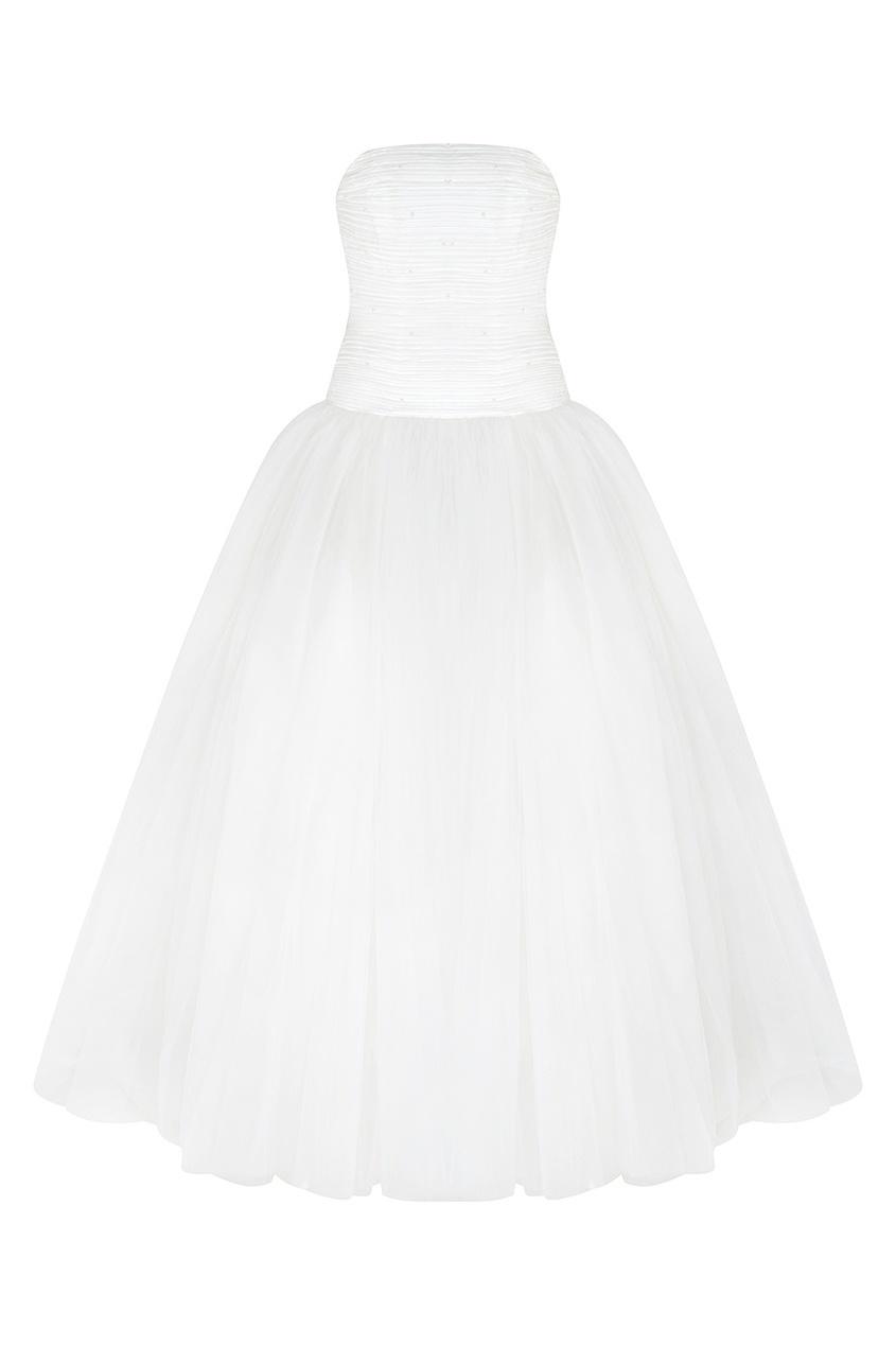 Платье-бюстье с жемчугом