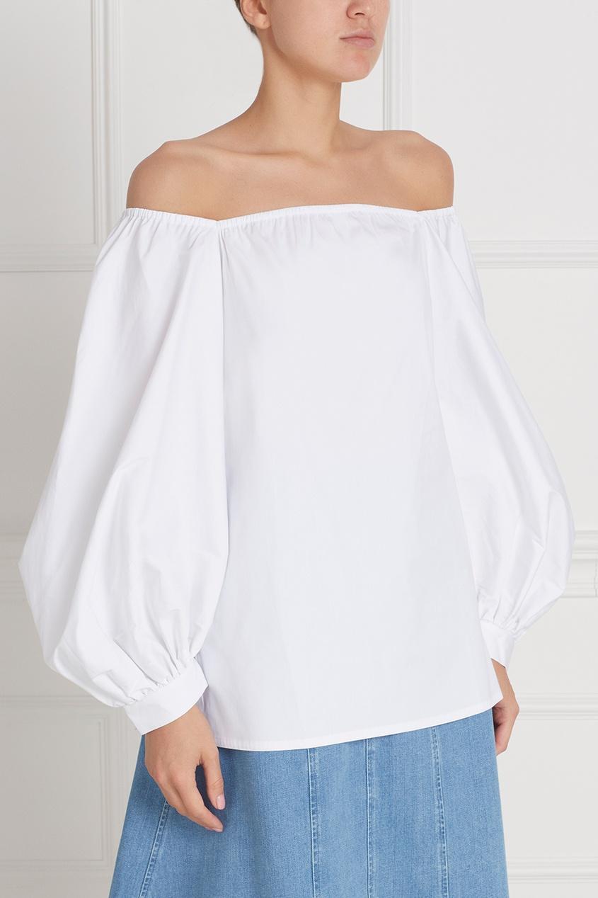 Фото 3 - Хлопковая блузка белая от Flambe белого цвета