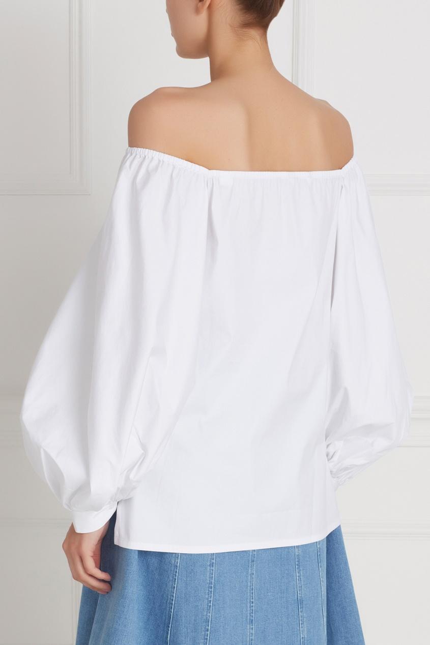 Фото 4 - Хлопковая блузка белая от Flambe белого цвета