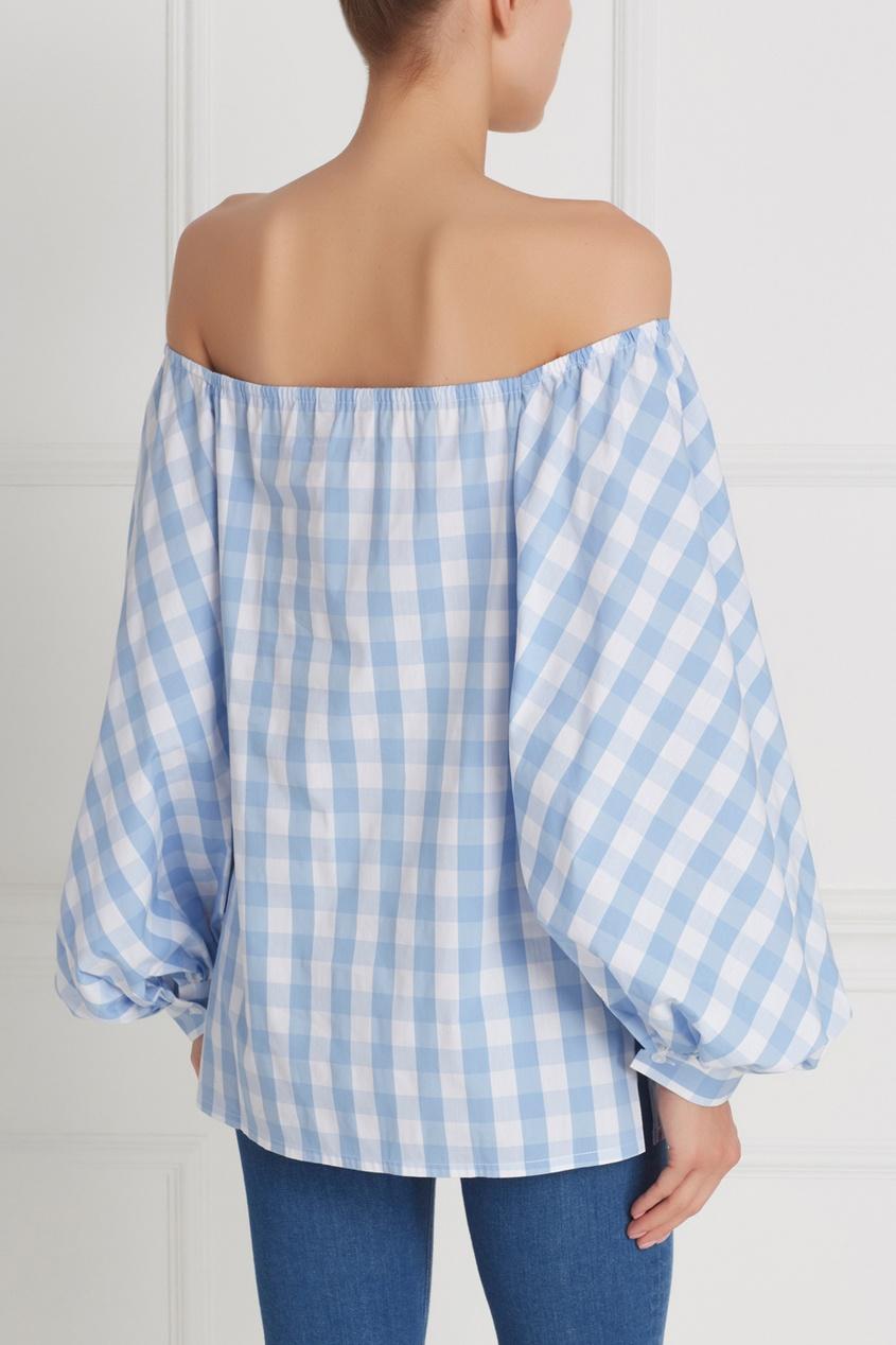Фото 4 - Хлопковая блузка от Flambe голубого цвета