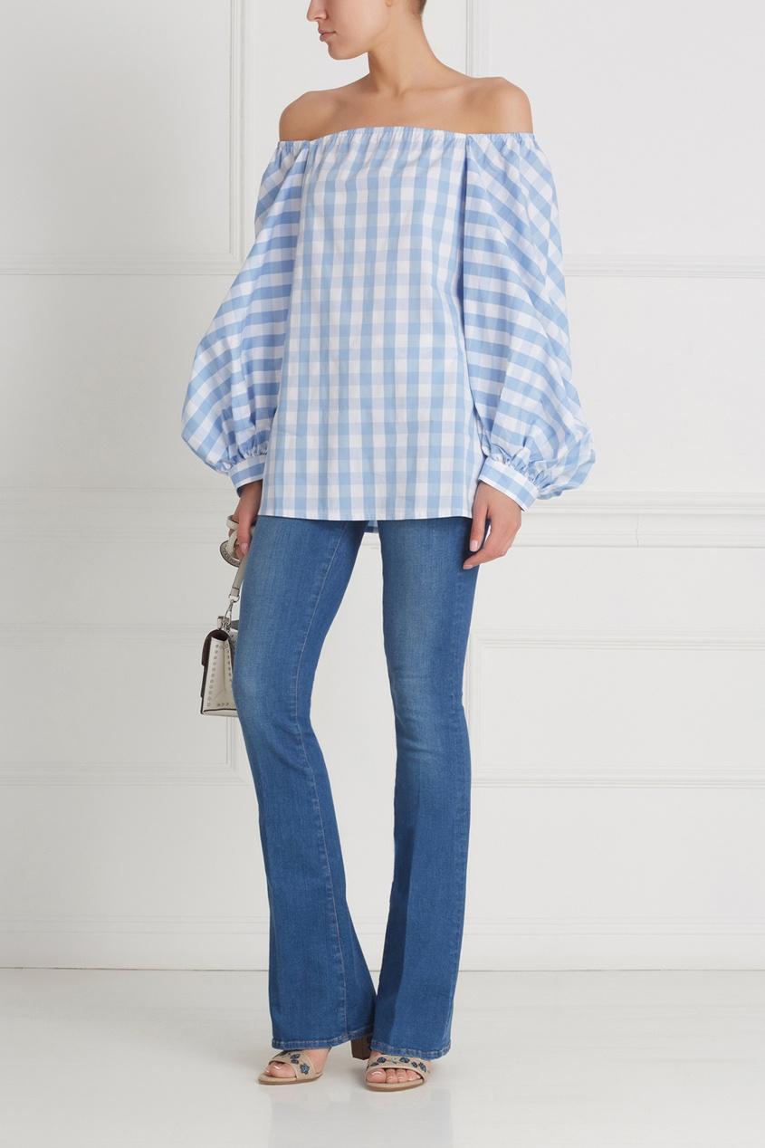 Фото 5 - Хлопковая блузка от Flambe голубого цвета