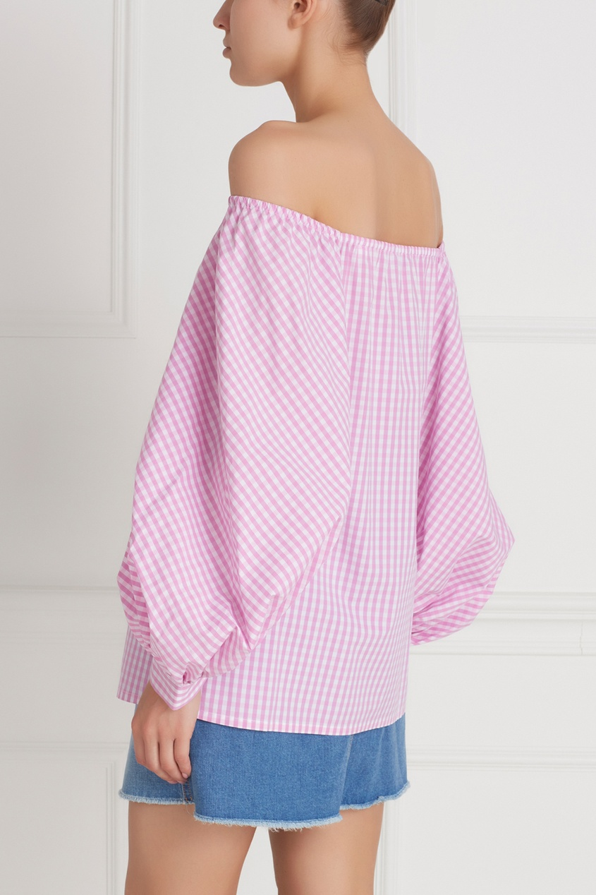 Фото 4 - Хлопковая блузка от Flambe розового цвета