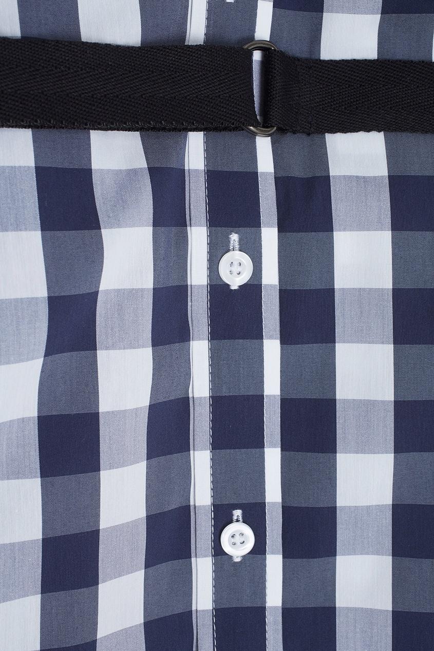 Фото 2 - Хлопковое платье-рубашка от Flambe синего цвета