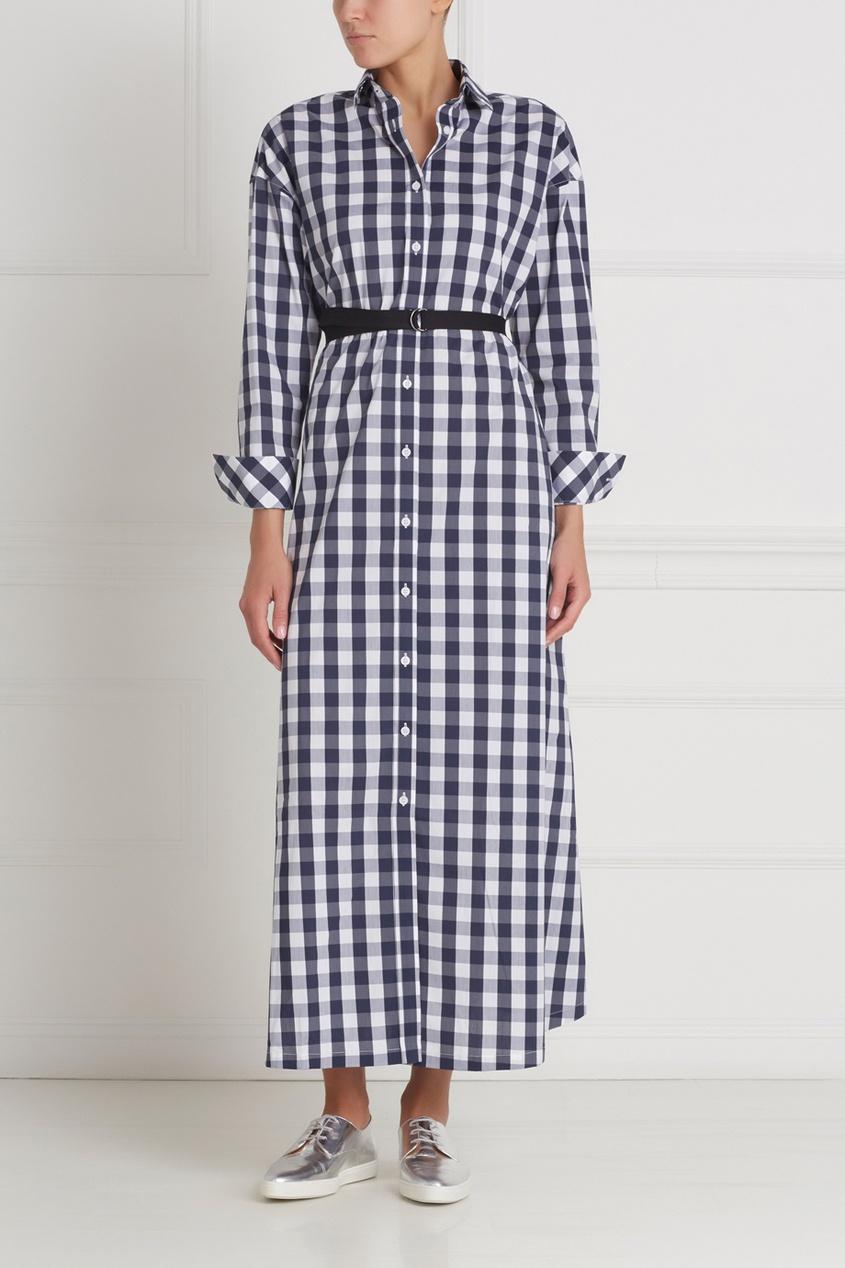 Фото 3 - Хлопковое платье-рубашка от Flambe синего цвета