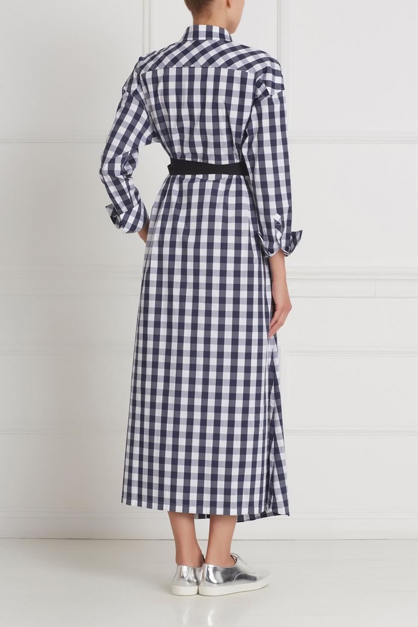 Фото 4 - Хлопковое платье-рубашка от Flambe синего цвета