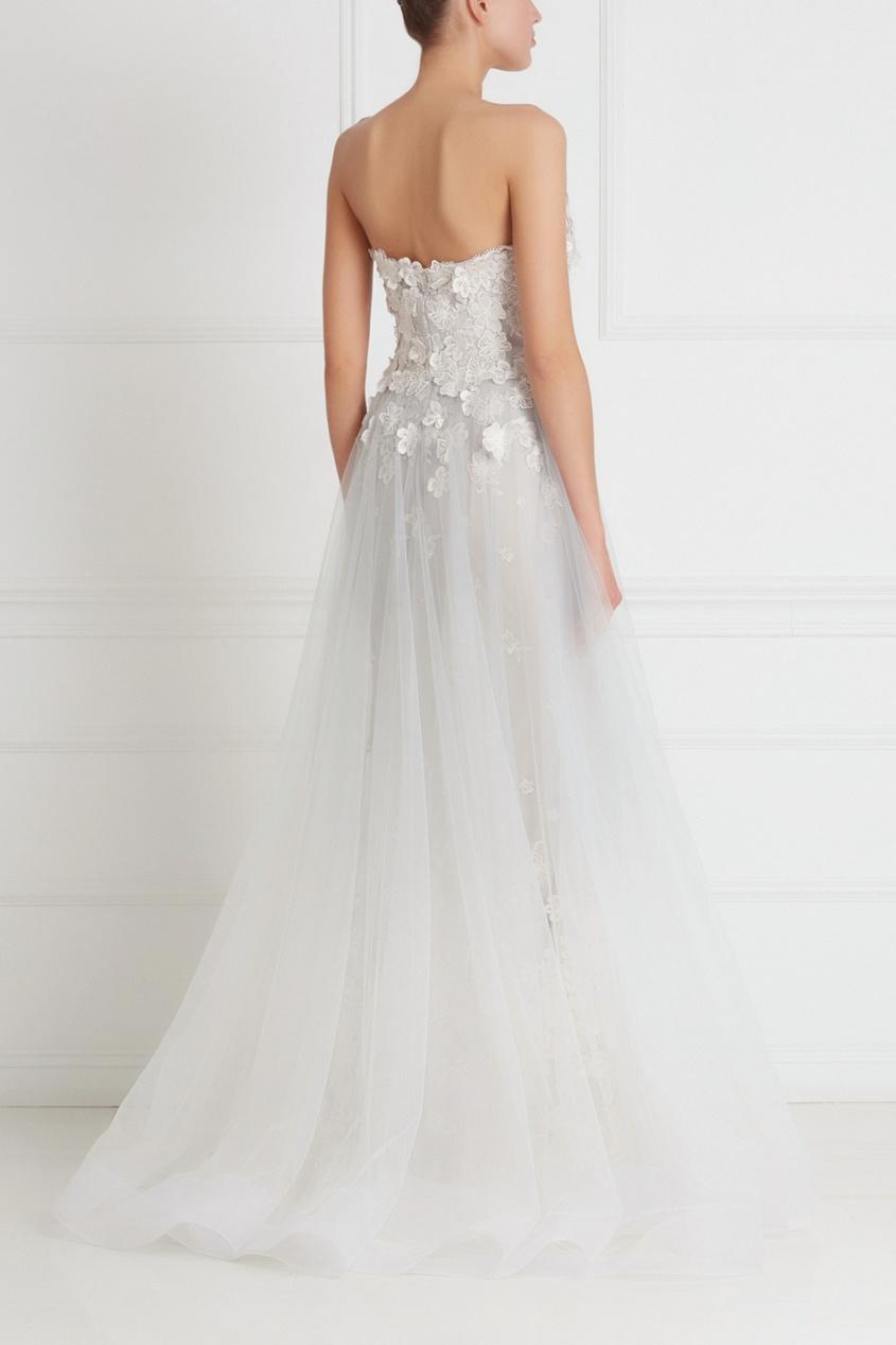 Фото 2 - Платье-бюстье в пол от Tony Ward серебрянного цвета