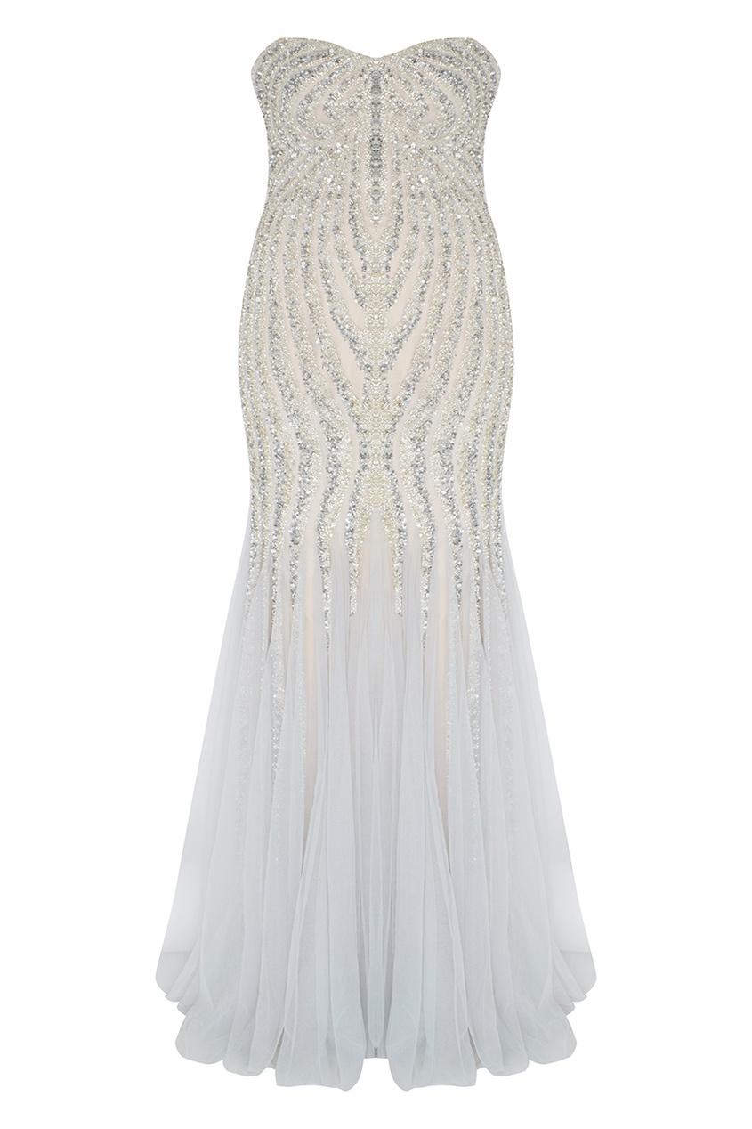 Фото 3 - Платье с кристаллами и стеклярусом от Tony Ward серебрянного цвета