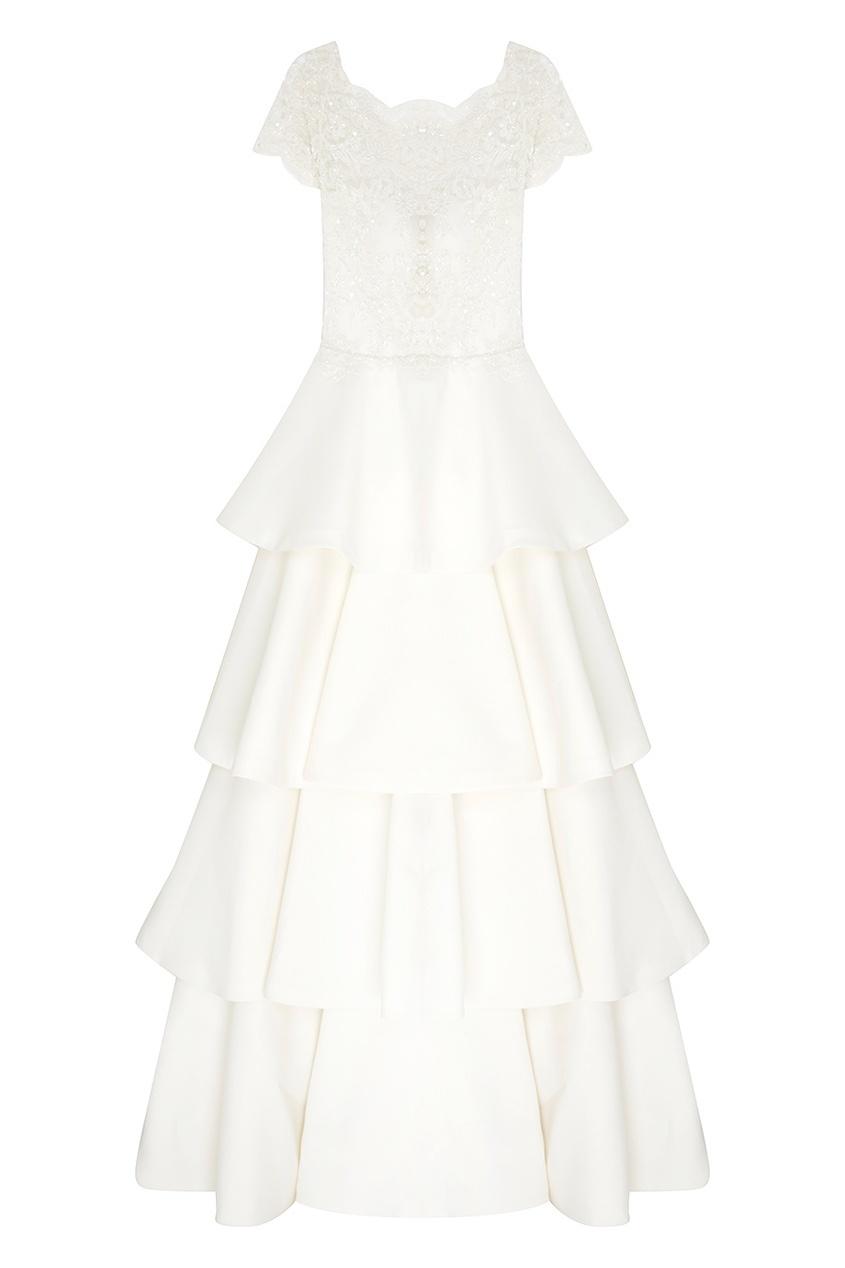 Платье с кружевом и стеклярусом