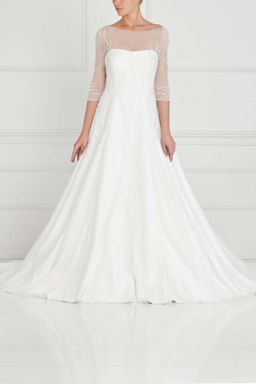 Фото - Платье с вышивкой и шлейфом от Tony Ward белого цвета