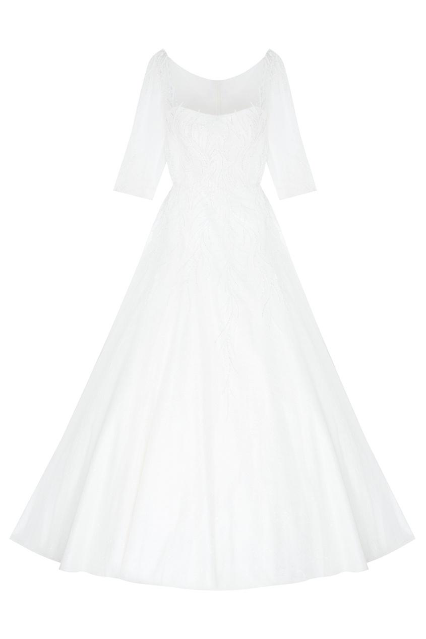 Фото 4 - Платье с вышивкой и шлейфом от Tony Ward белого цвета