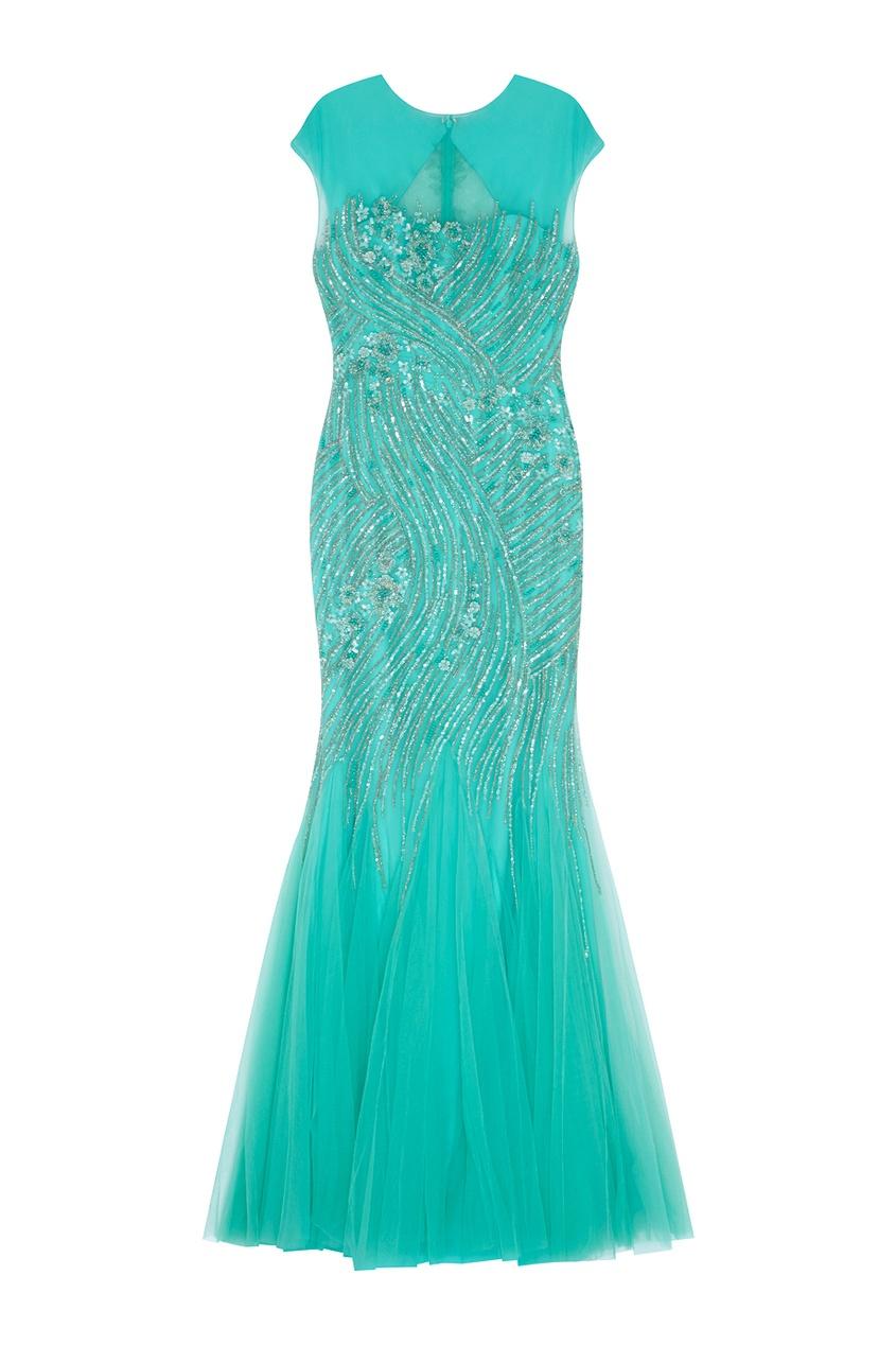 Фото 3 - Платье с вышивкой от Tony Ward зеленого цвета