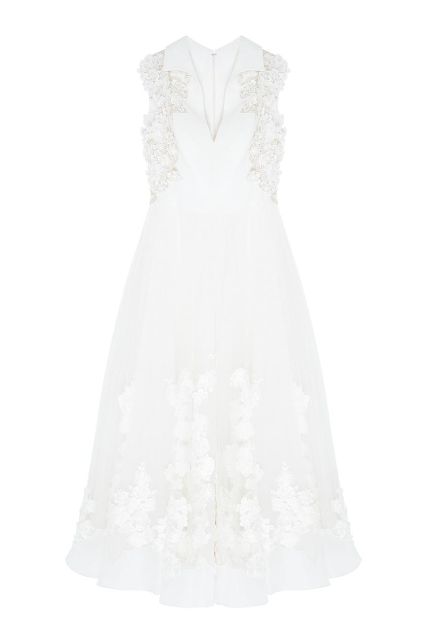 Фото 3 - Платье с вышивкой от Tony Ward белого цвета