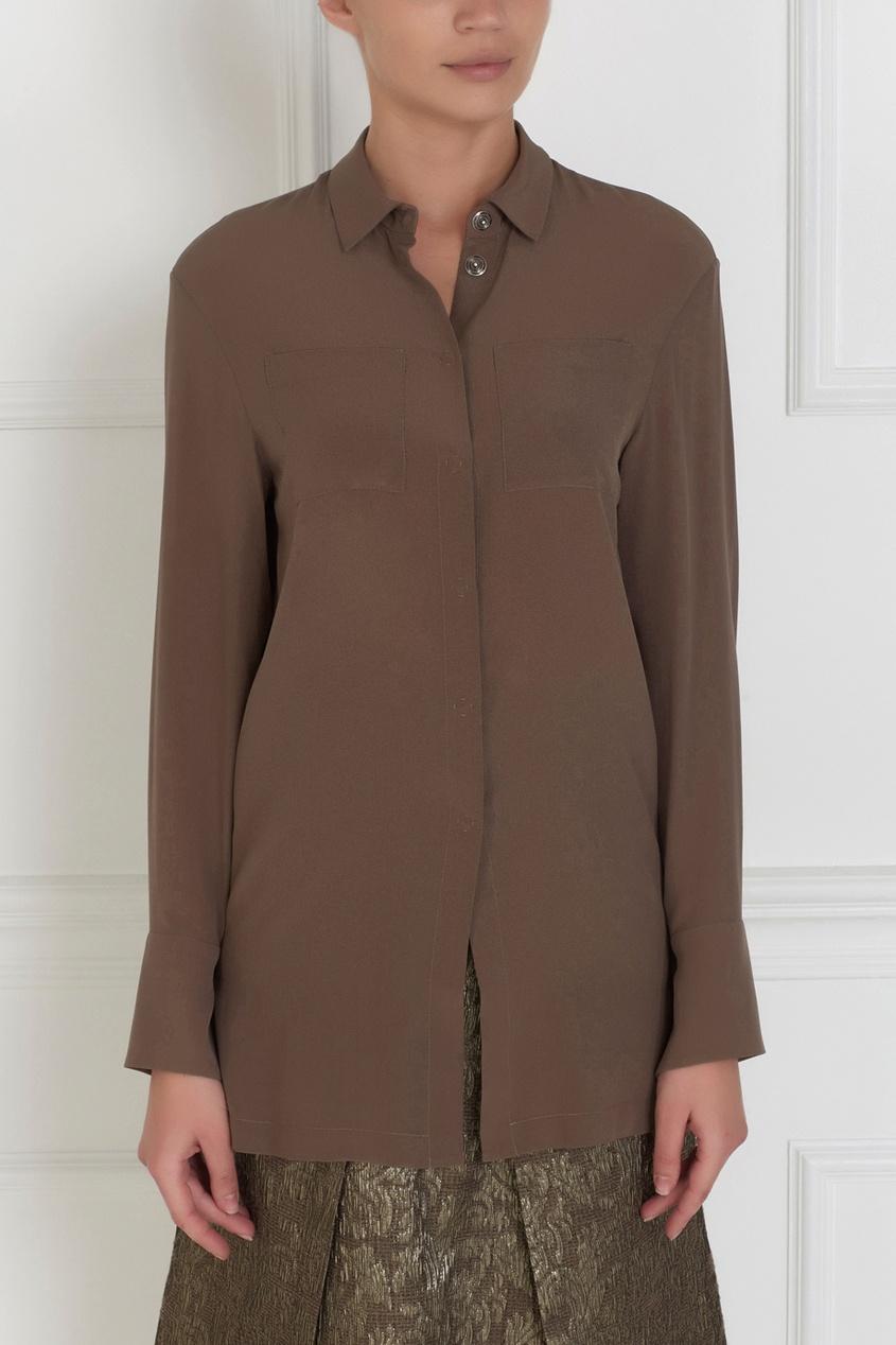 Фото 3 - Шелковая блузка от Alena Akhmadullina бежевого цвета