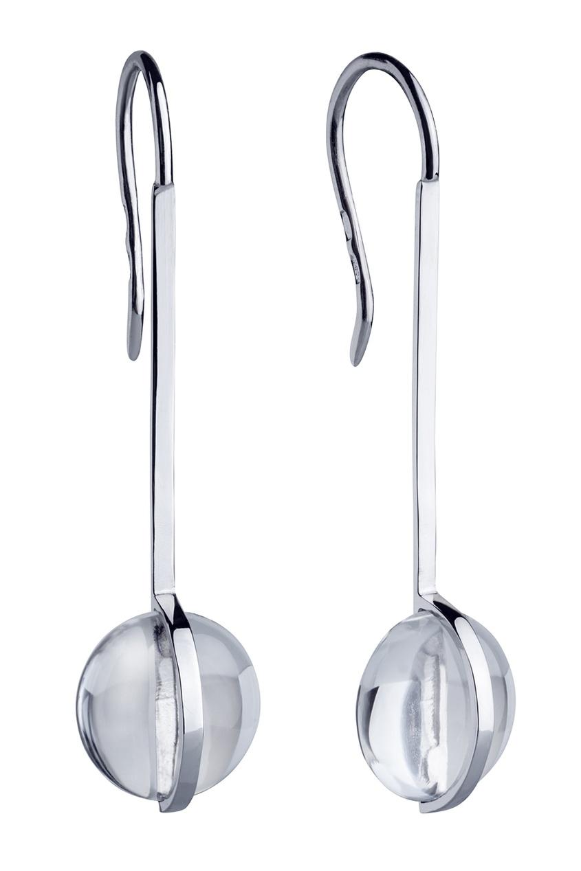 Фото 2 - Серебряные серьги с горным хрусталем Origin серебрянного цвета