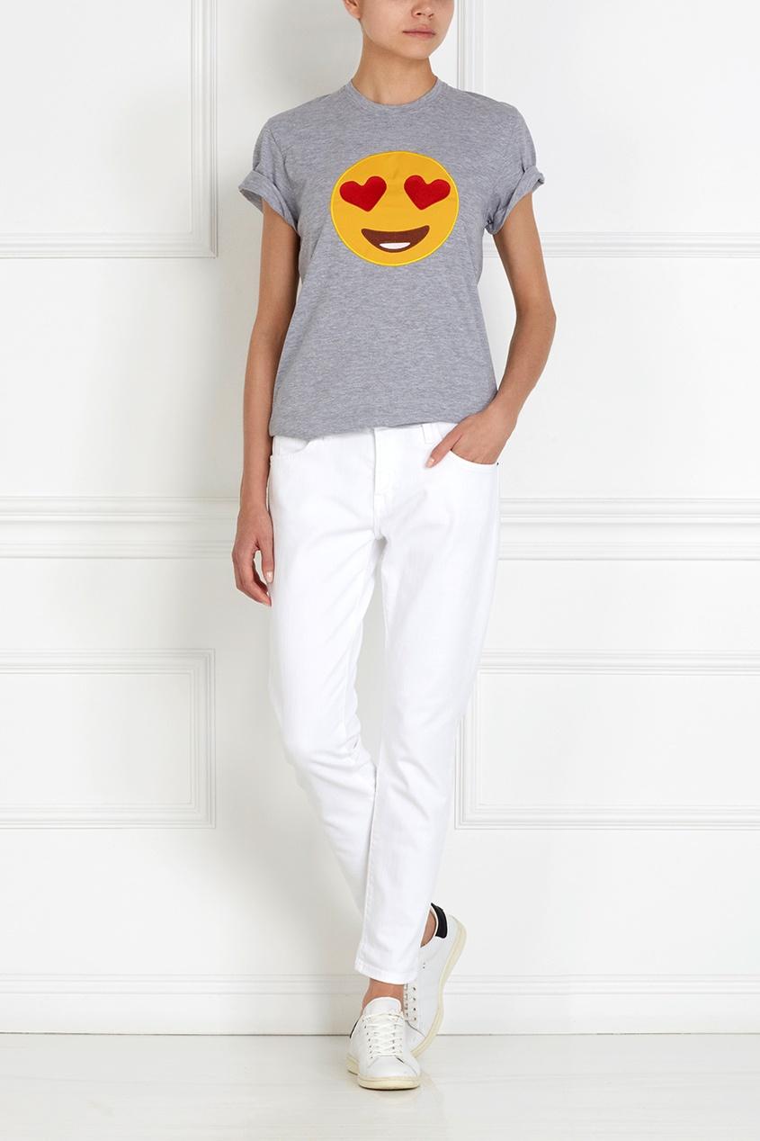 Фото 3 - Хлопковая футболка Lovesmiles от Candyshop серого цвета