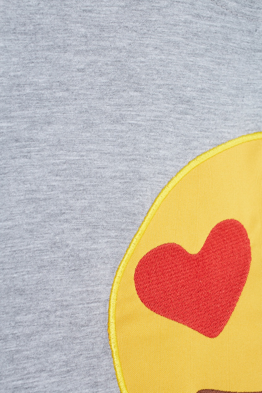 Фото 5 - Хлопковая футболка Lovesmiles от Candyshop серого цвета