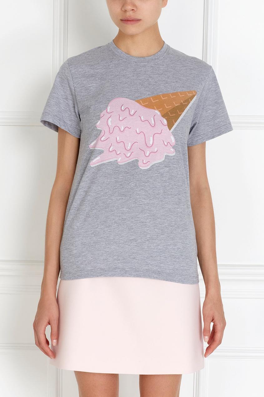 Фото 3 - Хлопковая футболка Icecream от Candyshop серого цвета