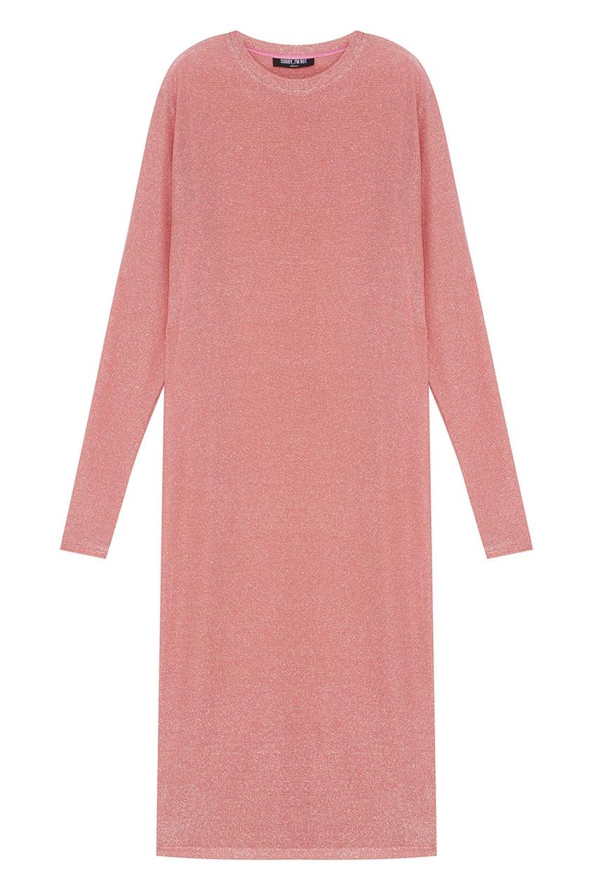 Фото - Хлопковое платье с люрексом розового цвета