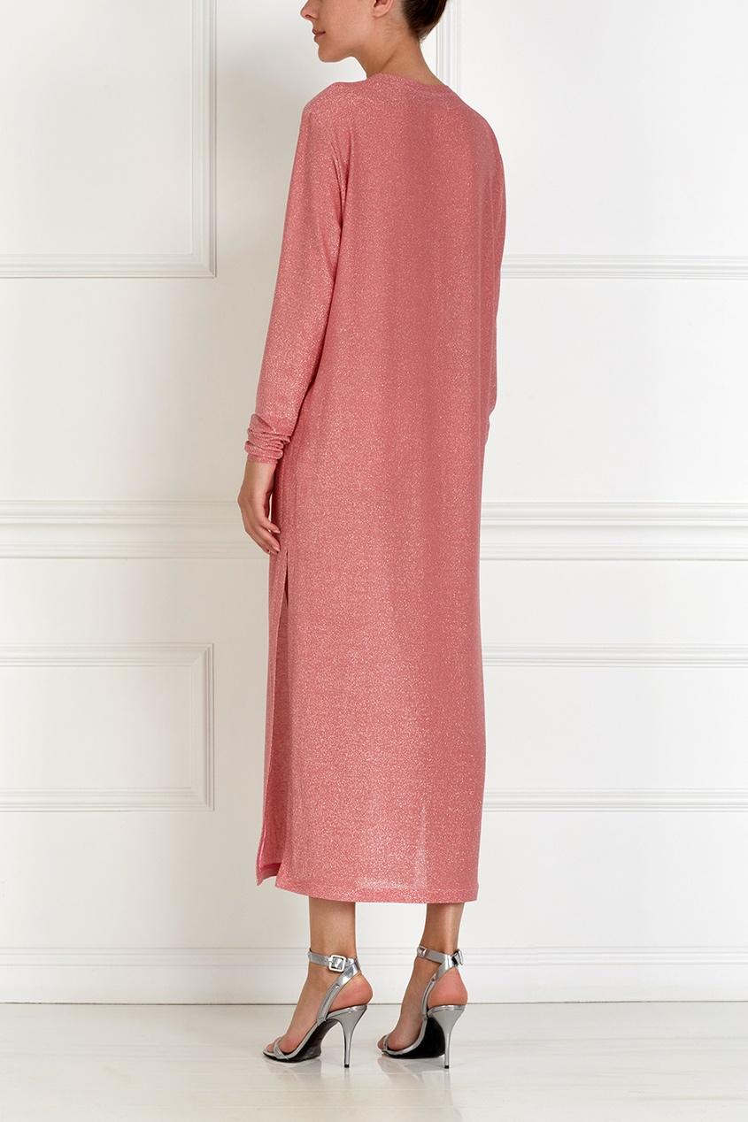 Фото 2 - Хлопковое платье с люрексом розового цвета