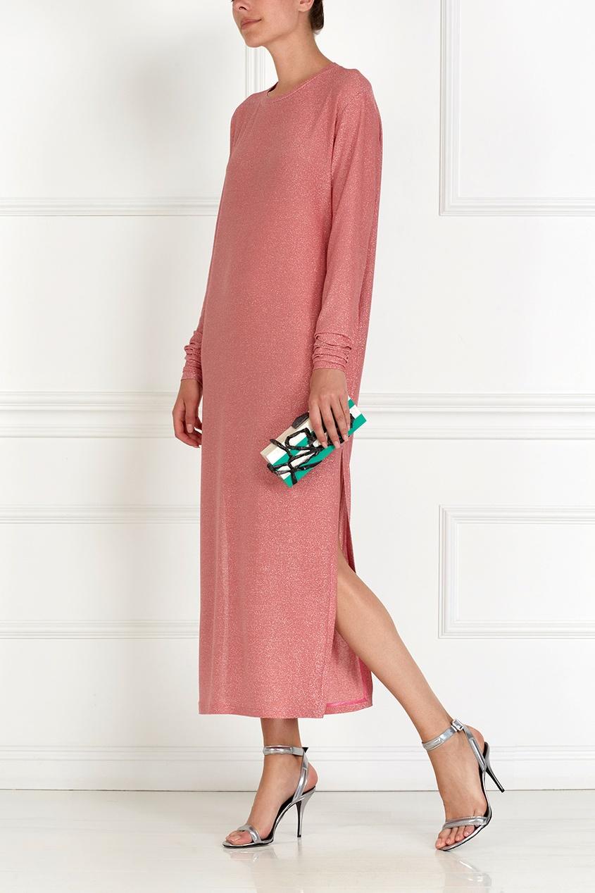 Фото 4 - Хлопковое платье с люрексом розового цвета