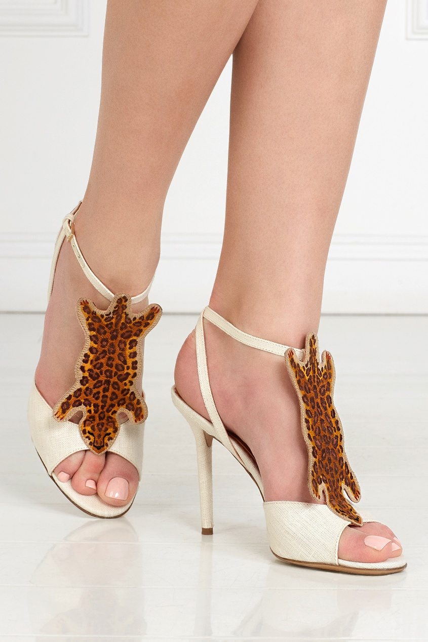 Charlotte Olympia Босоножки из льна и хлопка African Queen