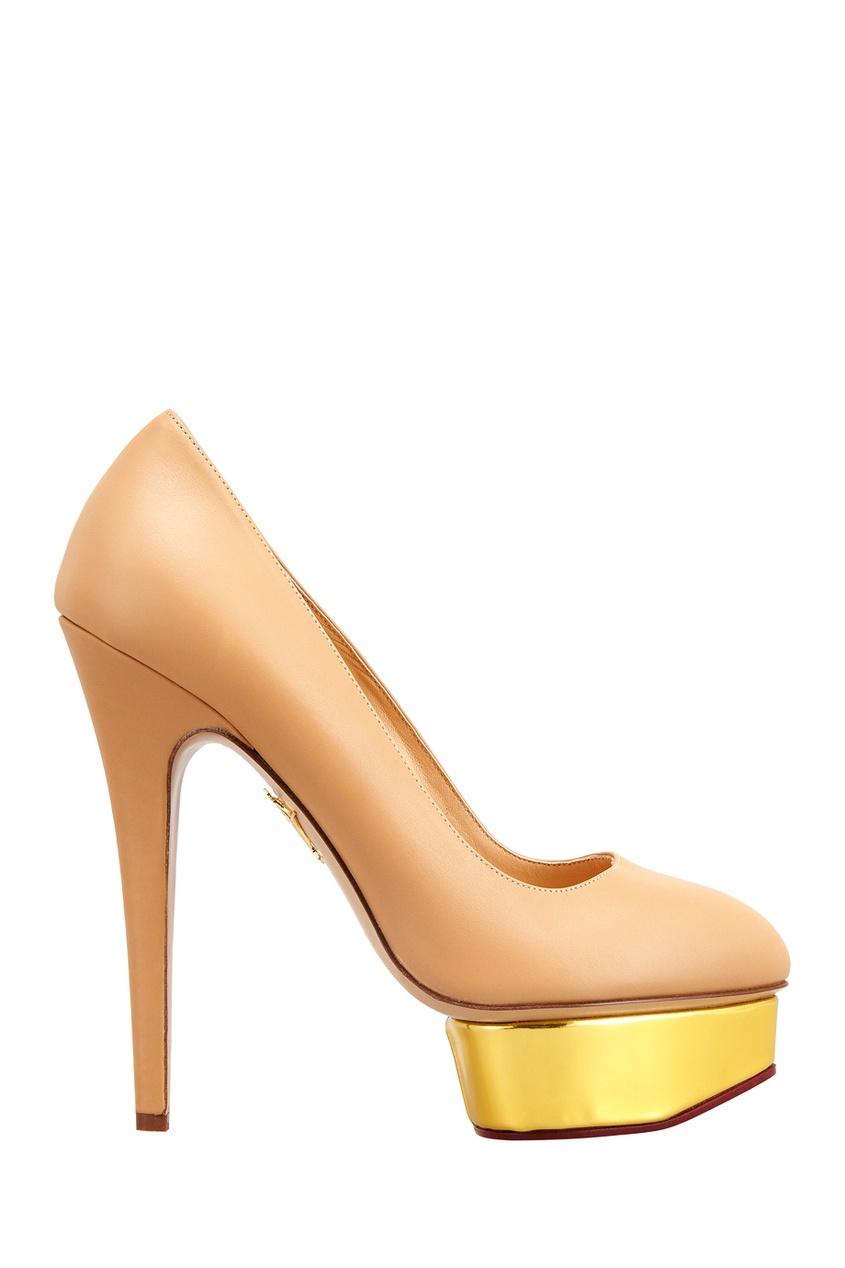 где купить Charlotte Olympia Кожаные туфли Dolly Gold Platform по лучшей цене