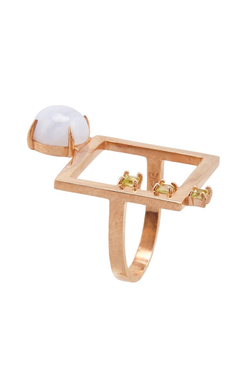 Moonka Позолоченное кольцо «Квадрат» с агатом и хризолитами