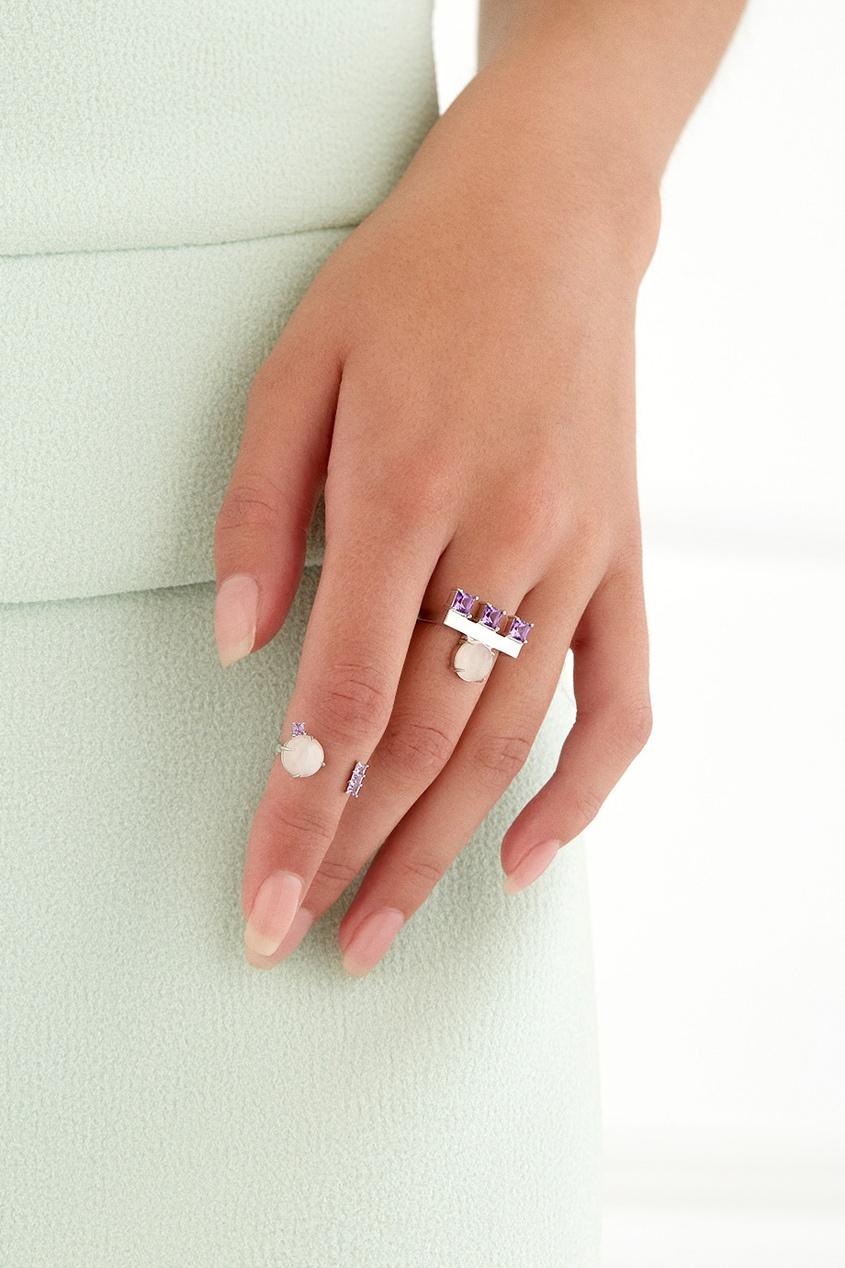 Moonka Studio Серебряное кольцо с кварцем и аметистами