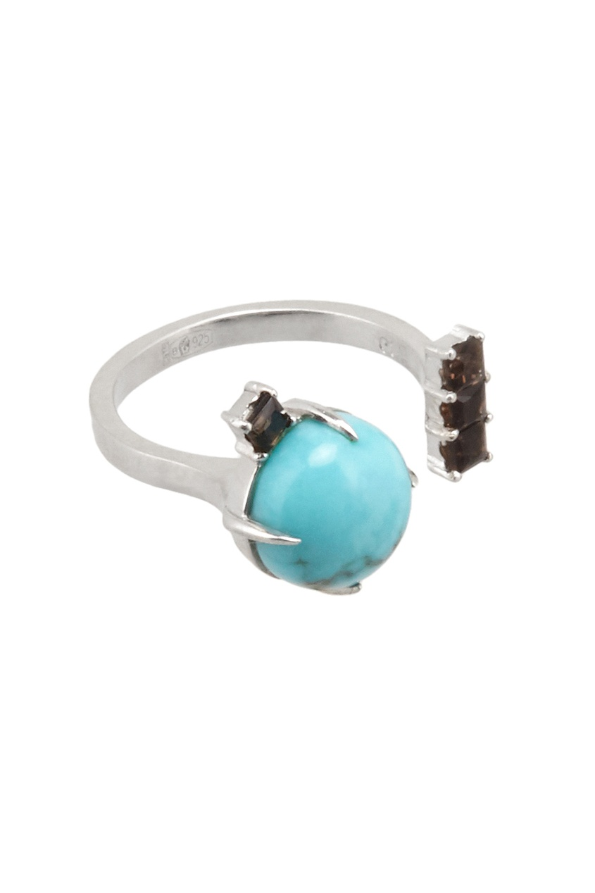 Moonka Studio Серебряное кольцо с бирюзой и раух-топазами moonka studio серебряное кольцо с топазом