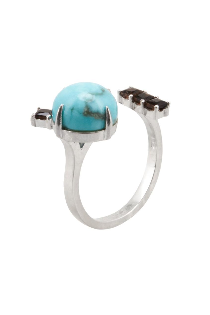 Moonka Studio Серебряное кольцо с бирюзой и раух-топазами