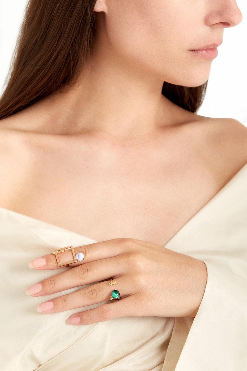 Moonka Studio Позолоченное кольцо с малахитом и цитринами moonka studio позолоченные серьги пуссеты с кварцем и цитринами