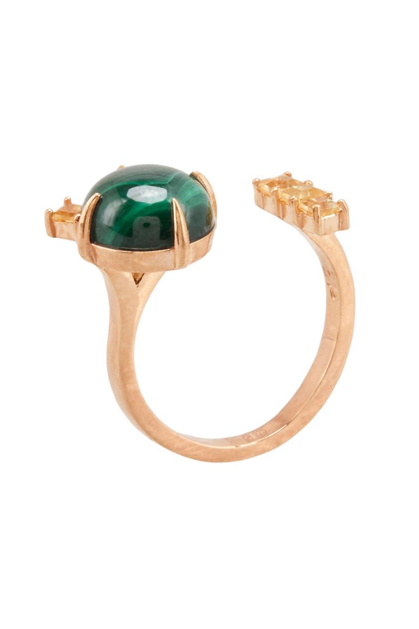 Moonka Studio Позолоченное кольцо с малахитом и цитринами