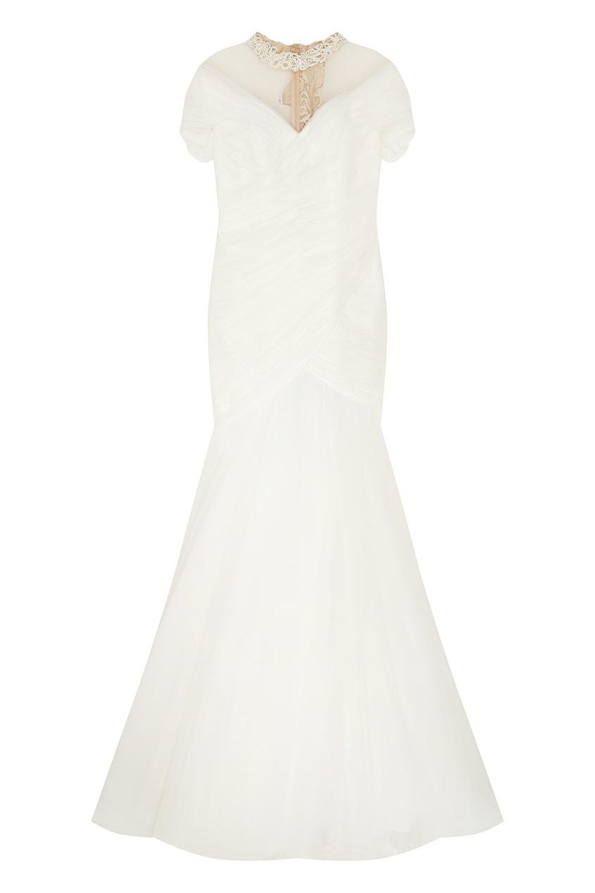 Платье с кружевом и кристаллами