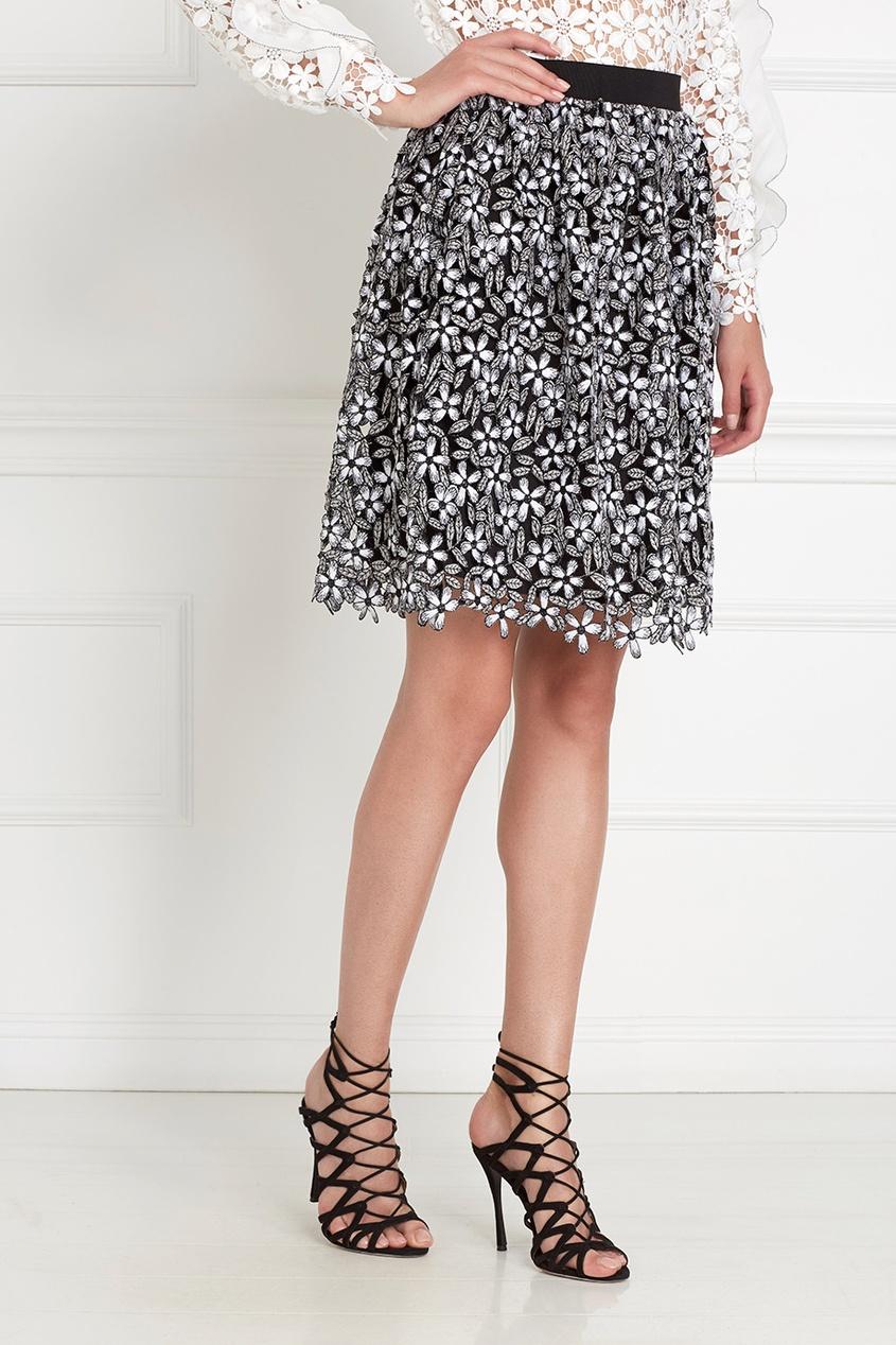 Фото 5 - Кружевная юбка черно-белого цвета