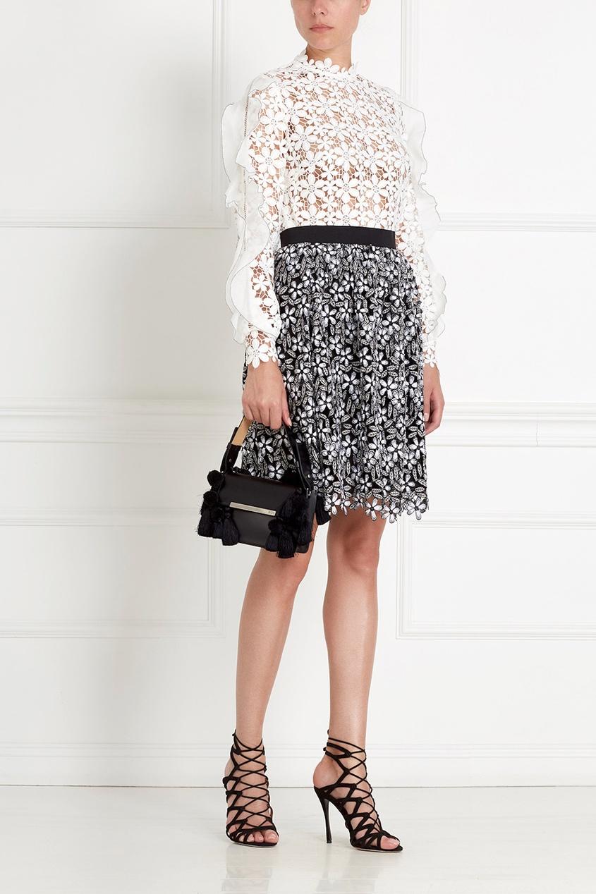 Фото 6 - Кружевная юбка черно-белого цвета