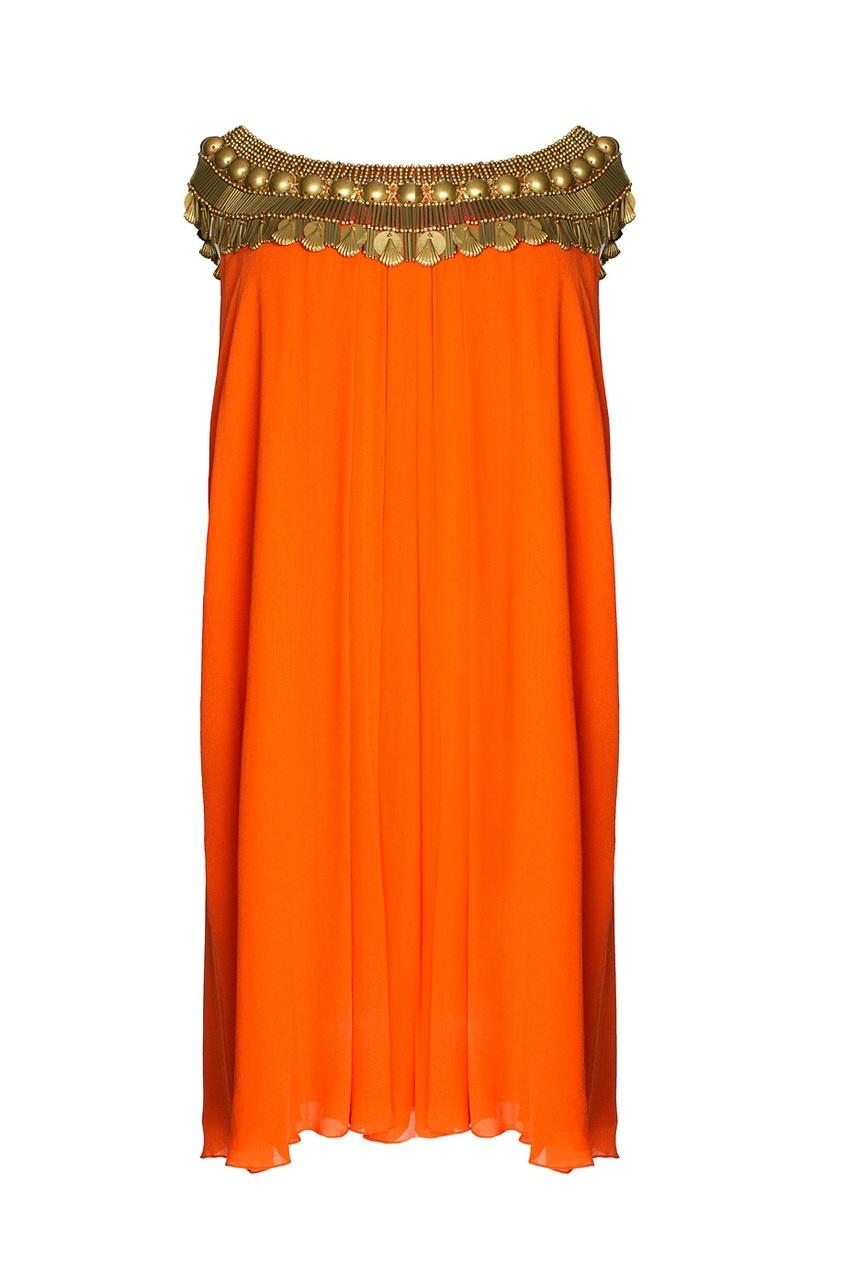 Платье с декоративным украшением на вороте (2006 г.)