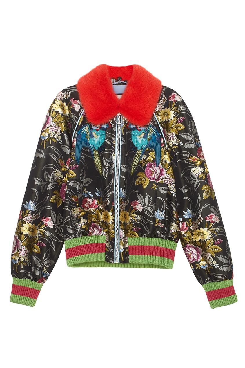 Бомбер с мехом Gucci. Цвет: multicolor