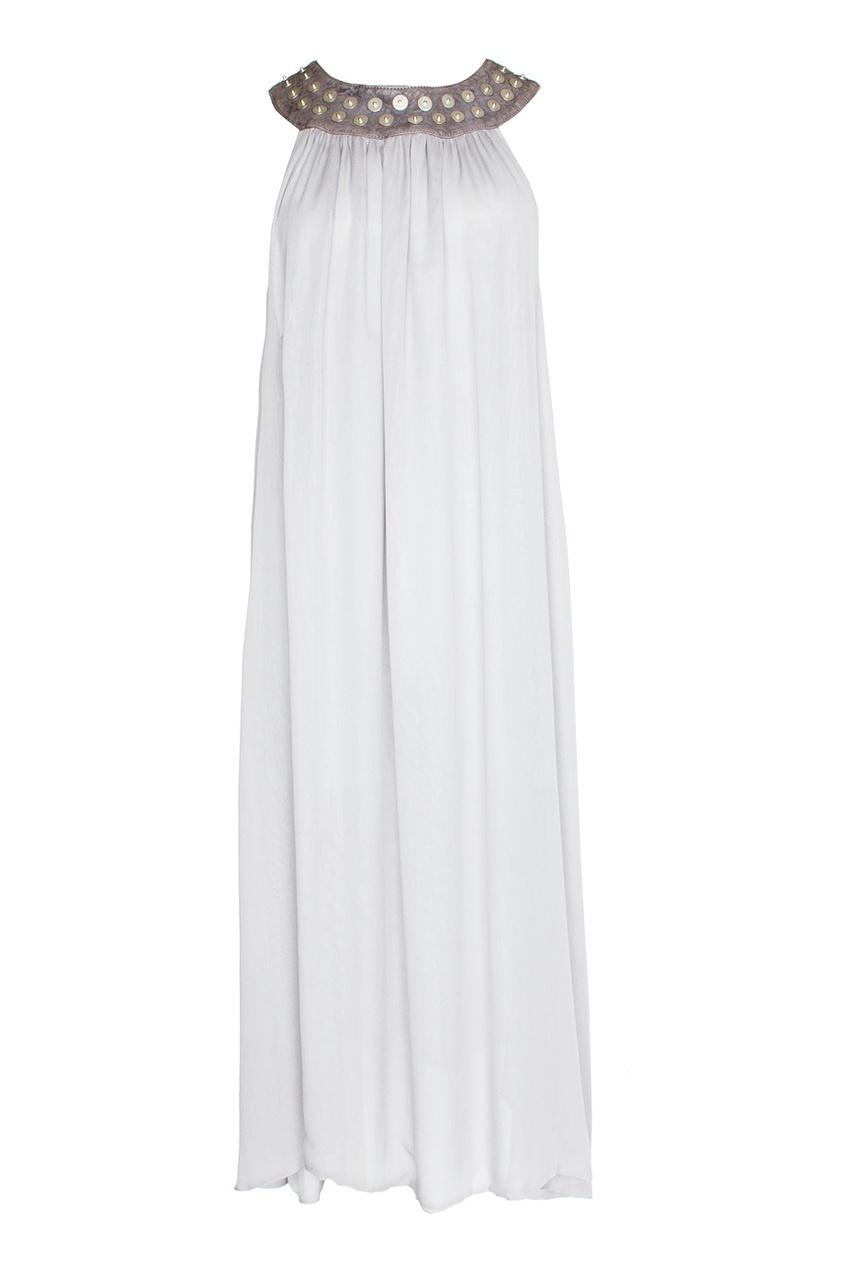 Легкое платье с кожаным воротом в заклепках (2007 г.)