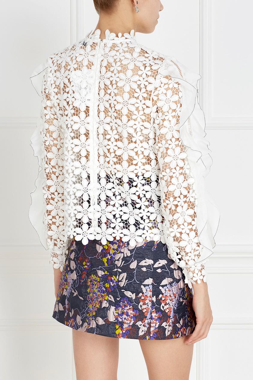 Фото 4 - Кружевная блузка белого цвета
