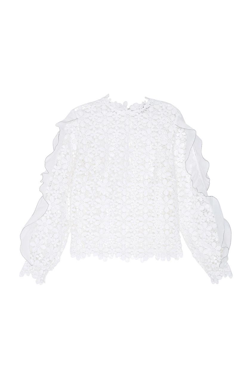 Фото 6 - Кружевная блузка белого цвета