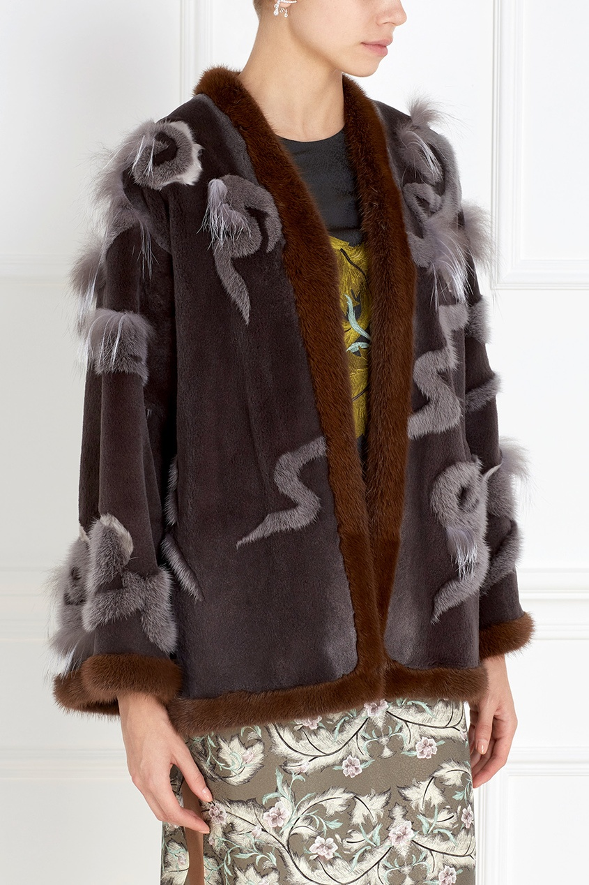 Фото 4 - Норковое пальто от Alena Akhmadullina серого цвета