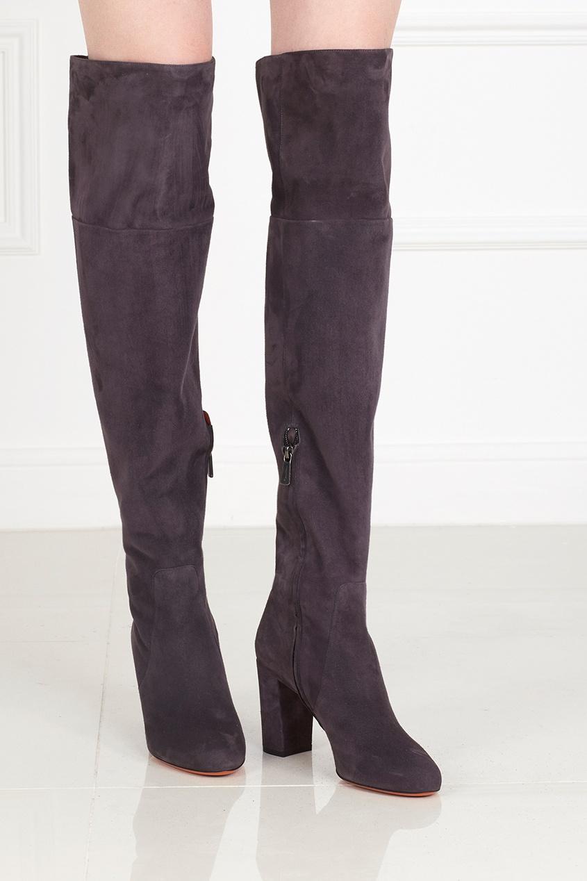 Фото - Замшевые ботфорты от Santoni серого цвета