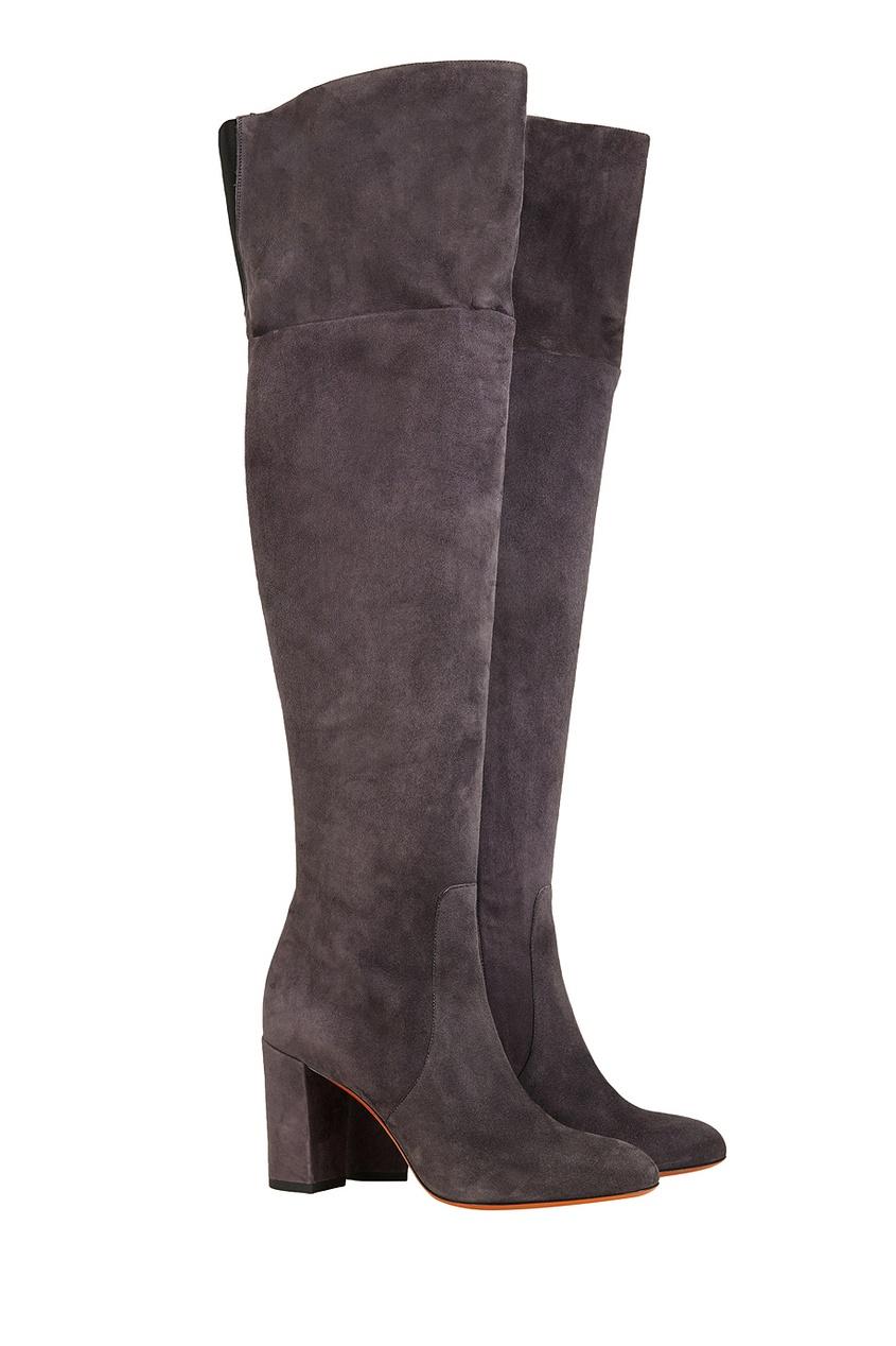 Фото 3 - Замшевые ботфорты от Santoni серого цвета