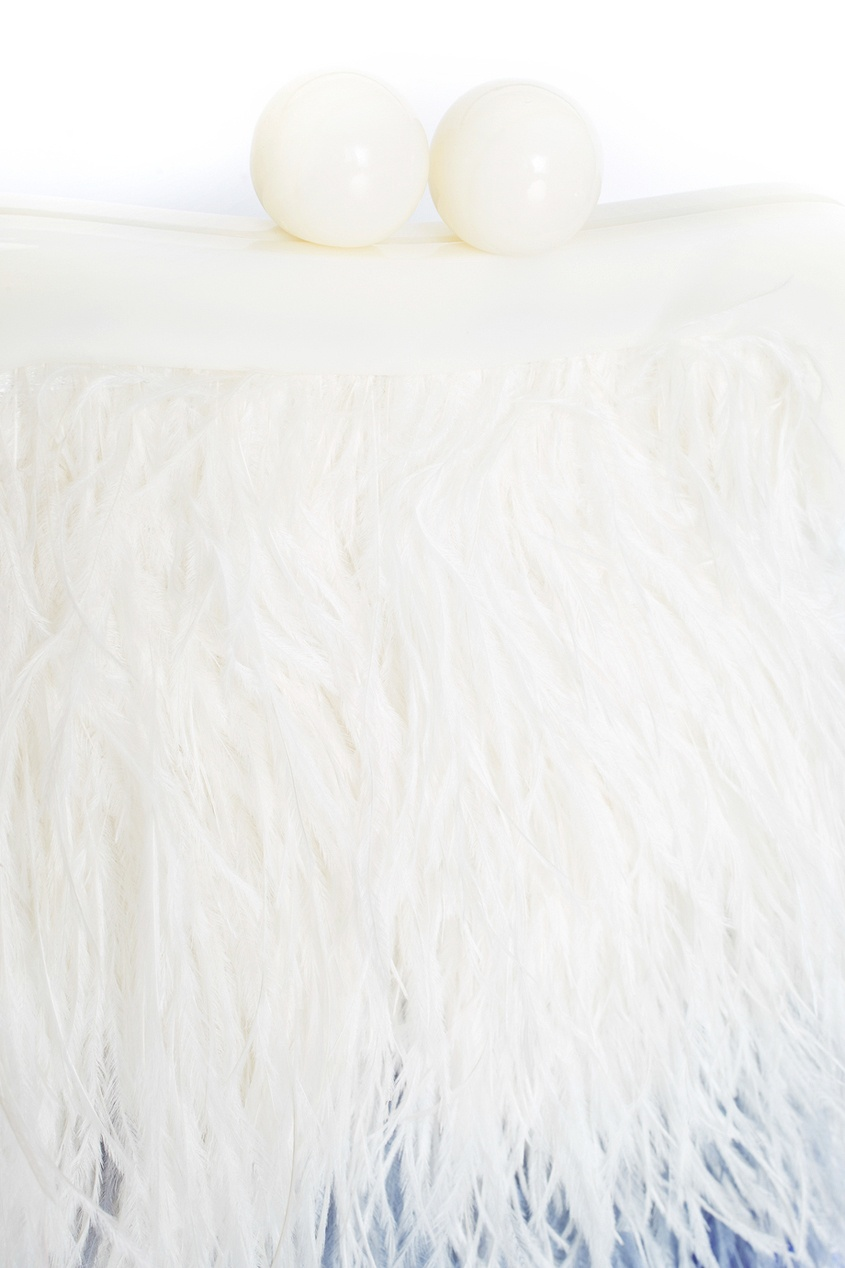 Шелковый клатч с перьями марабу Seagull