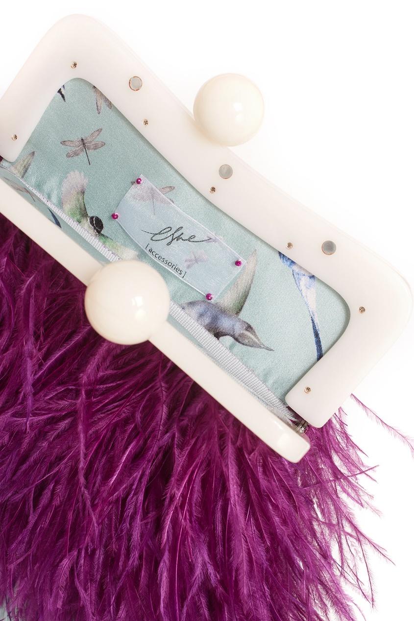 Шелковый клатч с перьями марабу Peacock